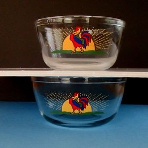 Anchor Hocking rooster glass mixing bowls MCM
